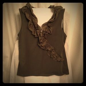 Chaps Women's Sleeveless top with Ruffle accent.